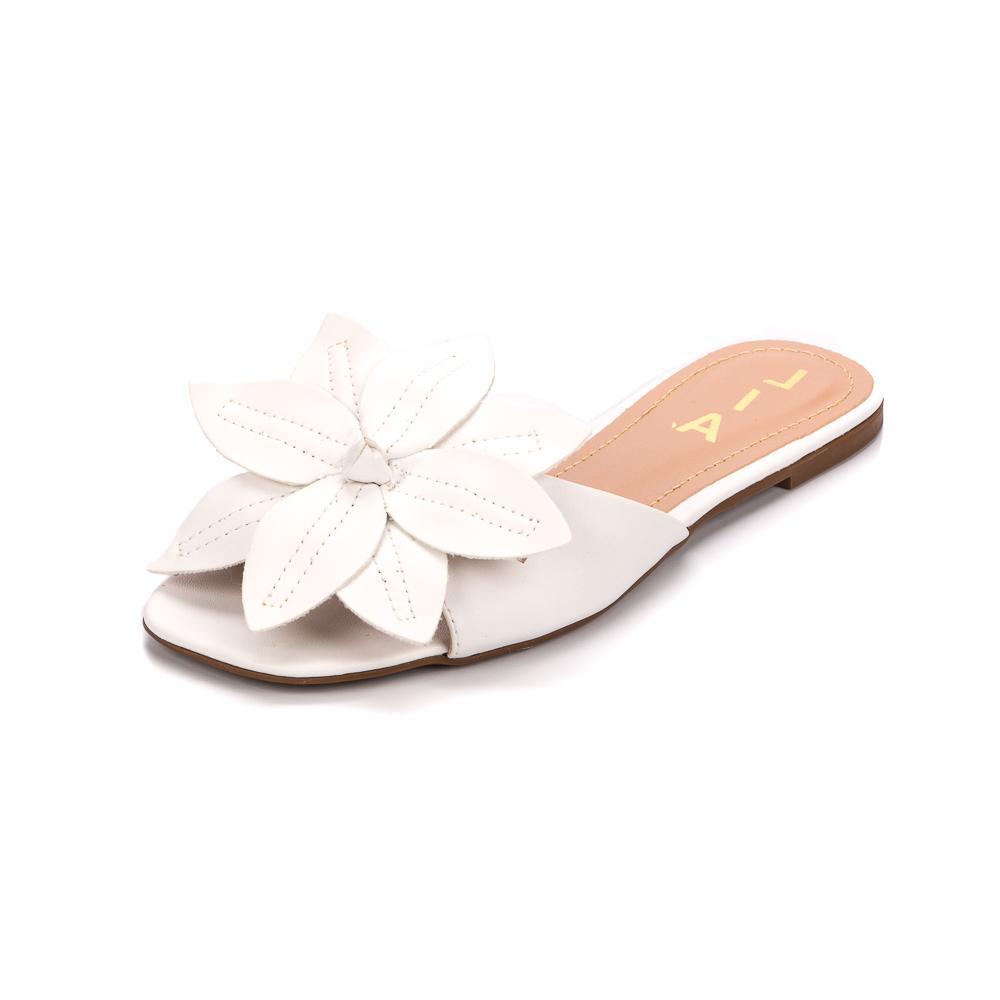 Rasteirinha Branca Floral | D-018-600