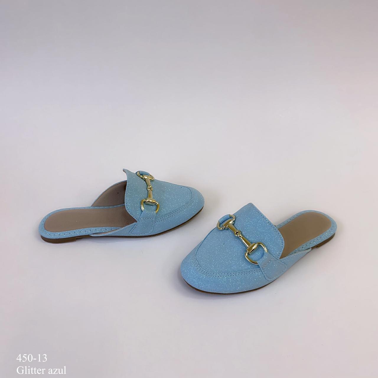 Mule  mamãe & filha Azul Glitter com Fivela | D-450-13