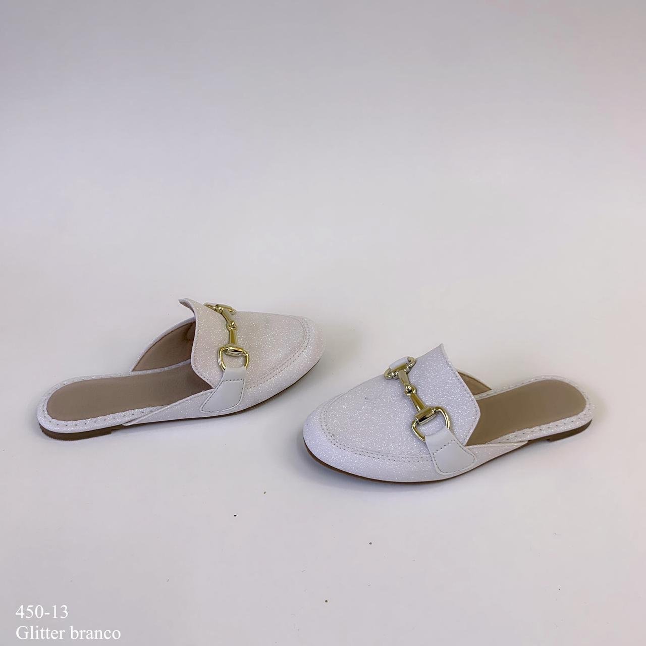 Mule  mamãe & filha Branco Glitter com Fivela | D-450-13