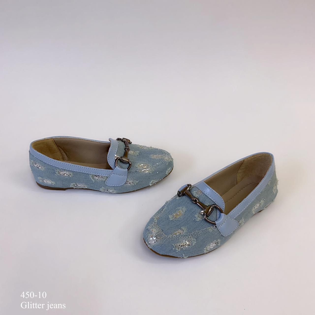 Mocassim mamãe & filha  Jeans Glitter | D-450-10