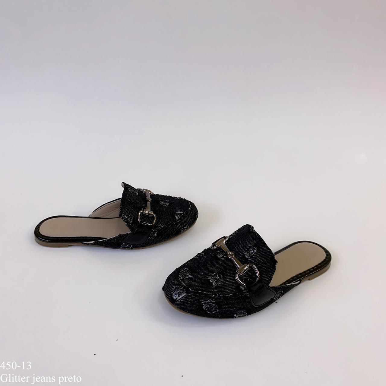 Mule  mamãe & filha  Preto Jeans Glitter Com Fivela | D-450-13