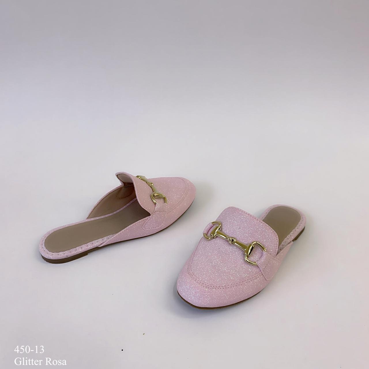 Mule mamãe & filha  Rosa Glitter Com Fivela | D-450-13