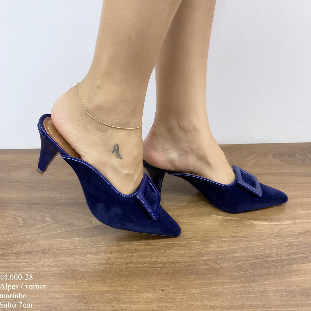 Mule Bico Fino Azul Marinho | D-44.000-28