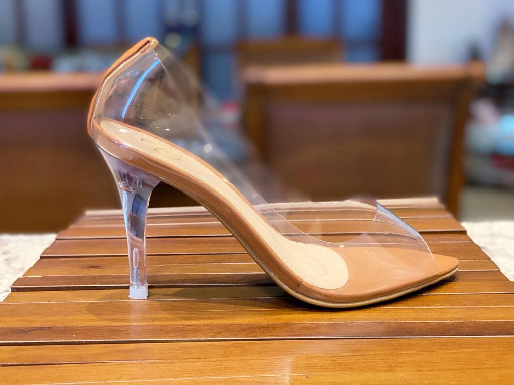 Peep Toe Caramelo Salto Cristal | D-18000-595