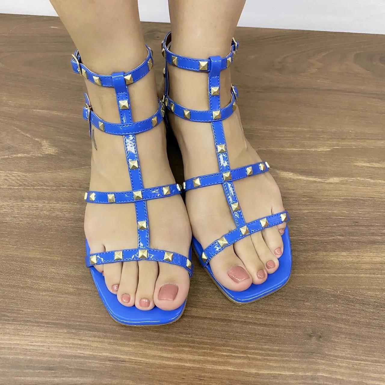 Rasteirinha Azul com Tachas | D-46.000-327