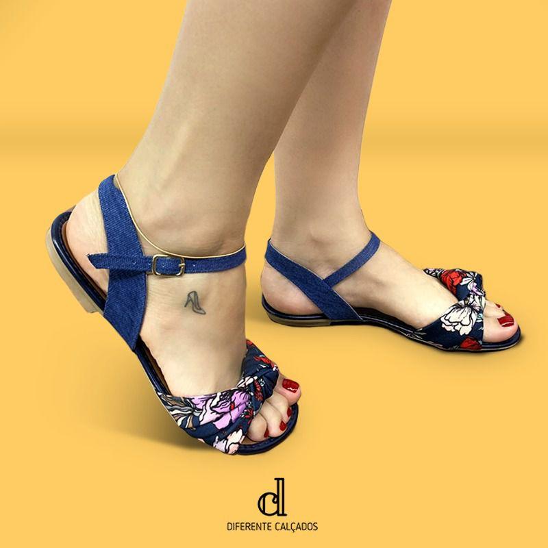 Rasteirinha Jeans Azul | D-777-155