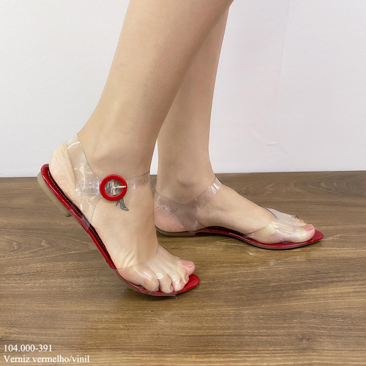 Sandália Rasteirinha Vermelha | D-104.000-391