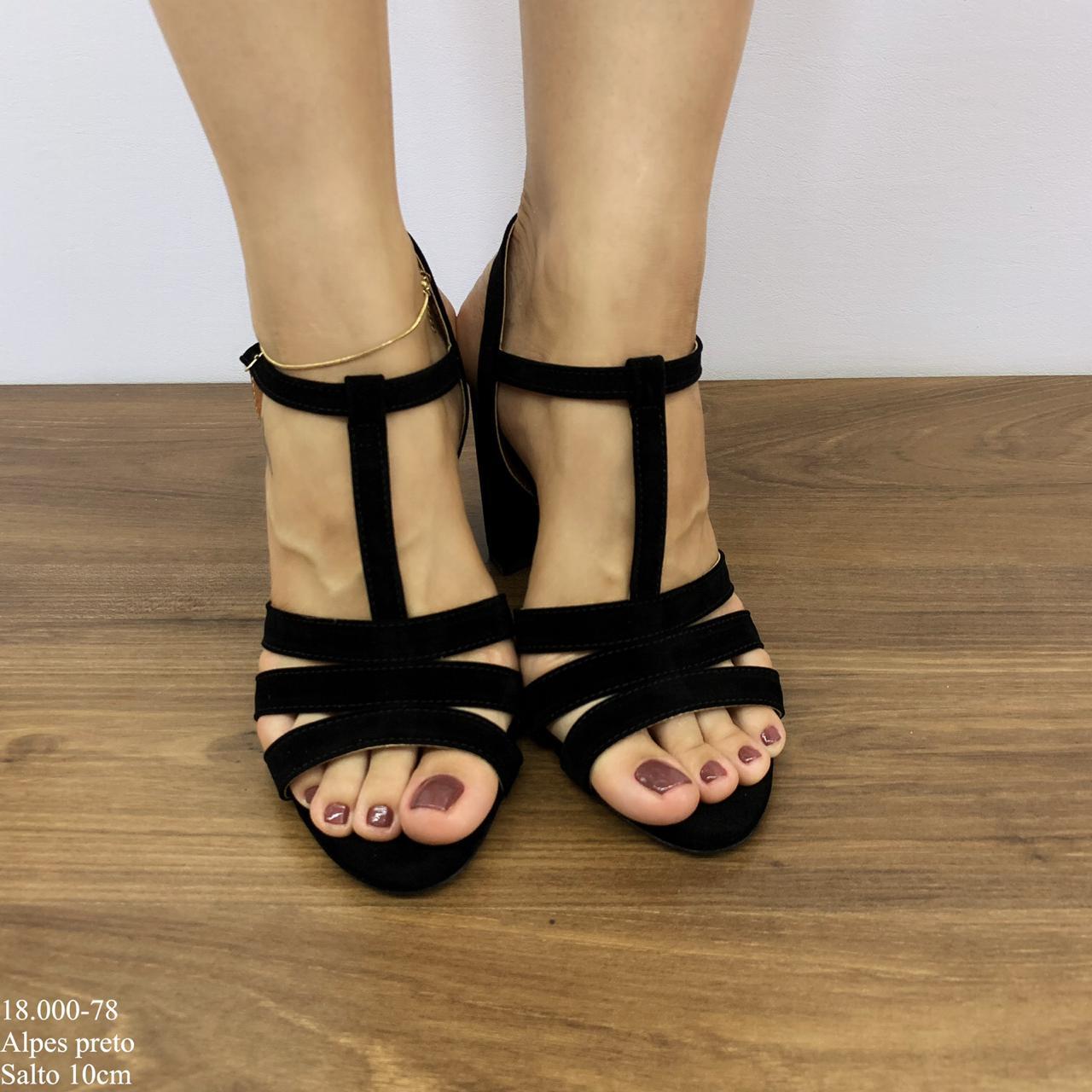 Sandália Preta Salto Alto | D-18.000-78