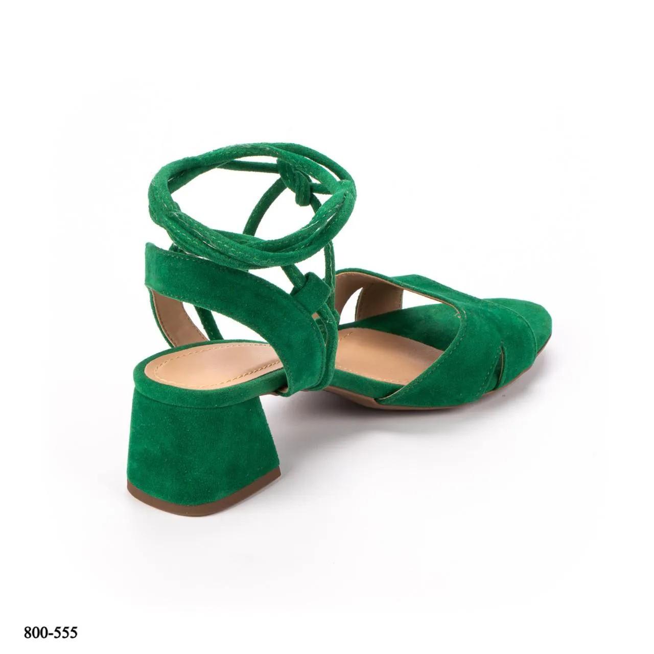 Sandália Amarração Verde Camurça | D-2021