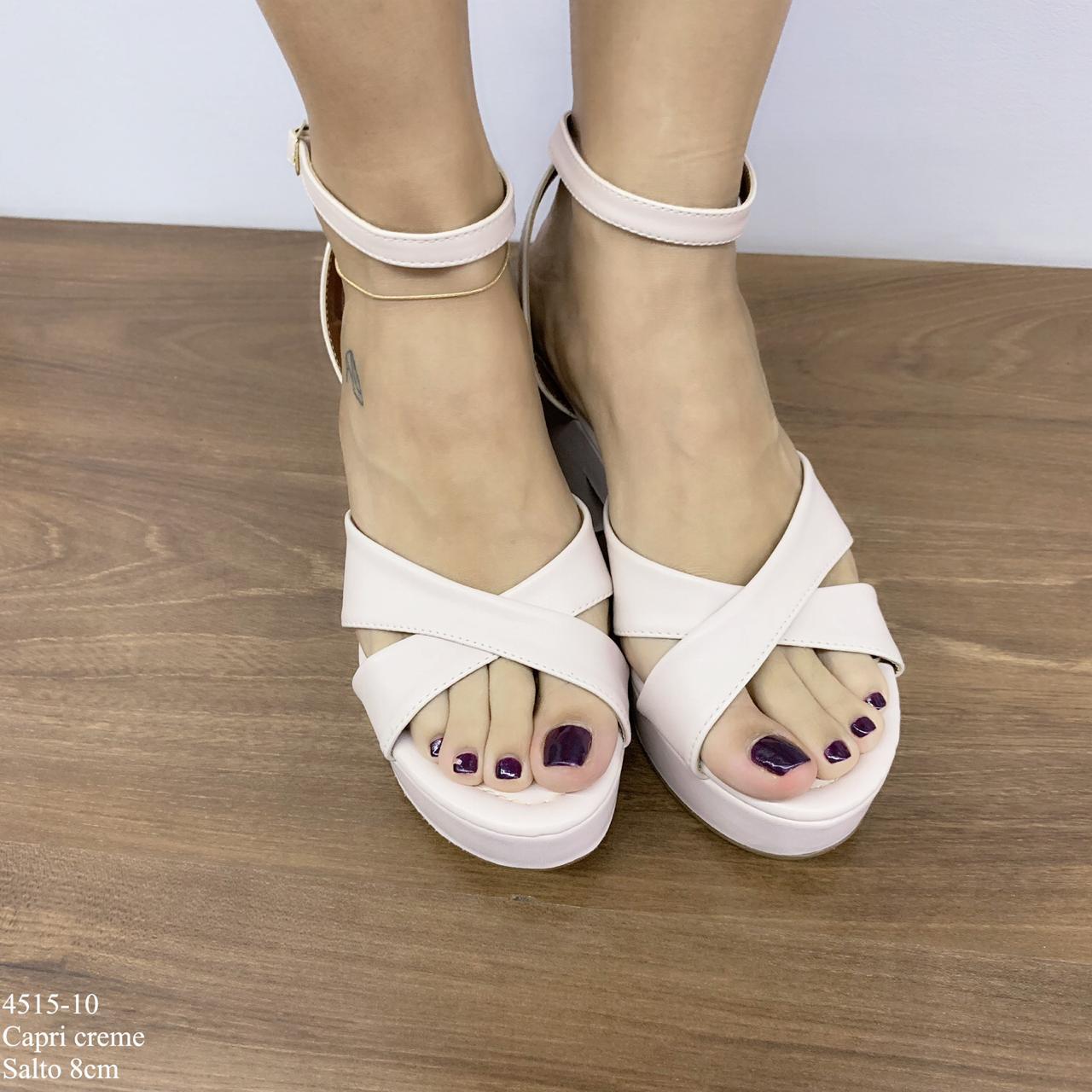 Sandalia Anabela Creme | D-4515-10