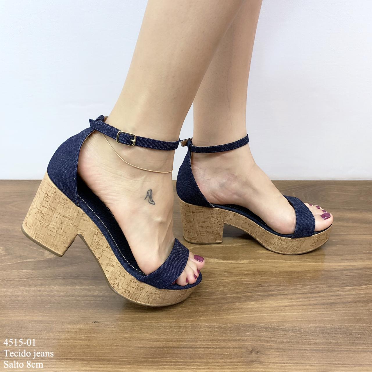 Sandália Anabela Tecido Jeans | D-4515-01