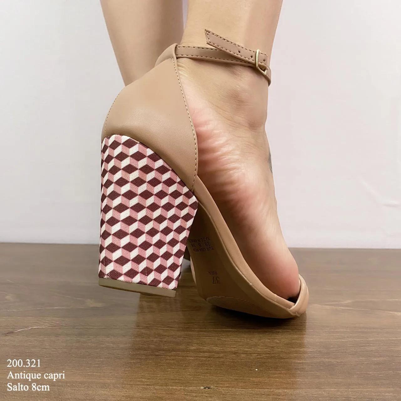 Sandália Nude Salto Bloco | D-200.321