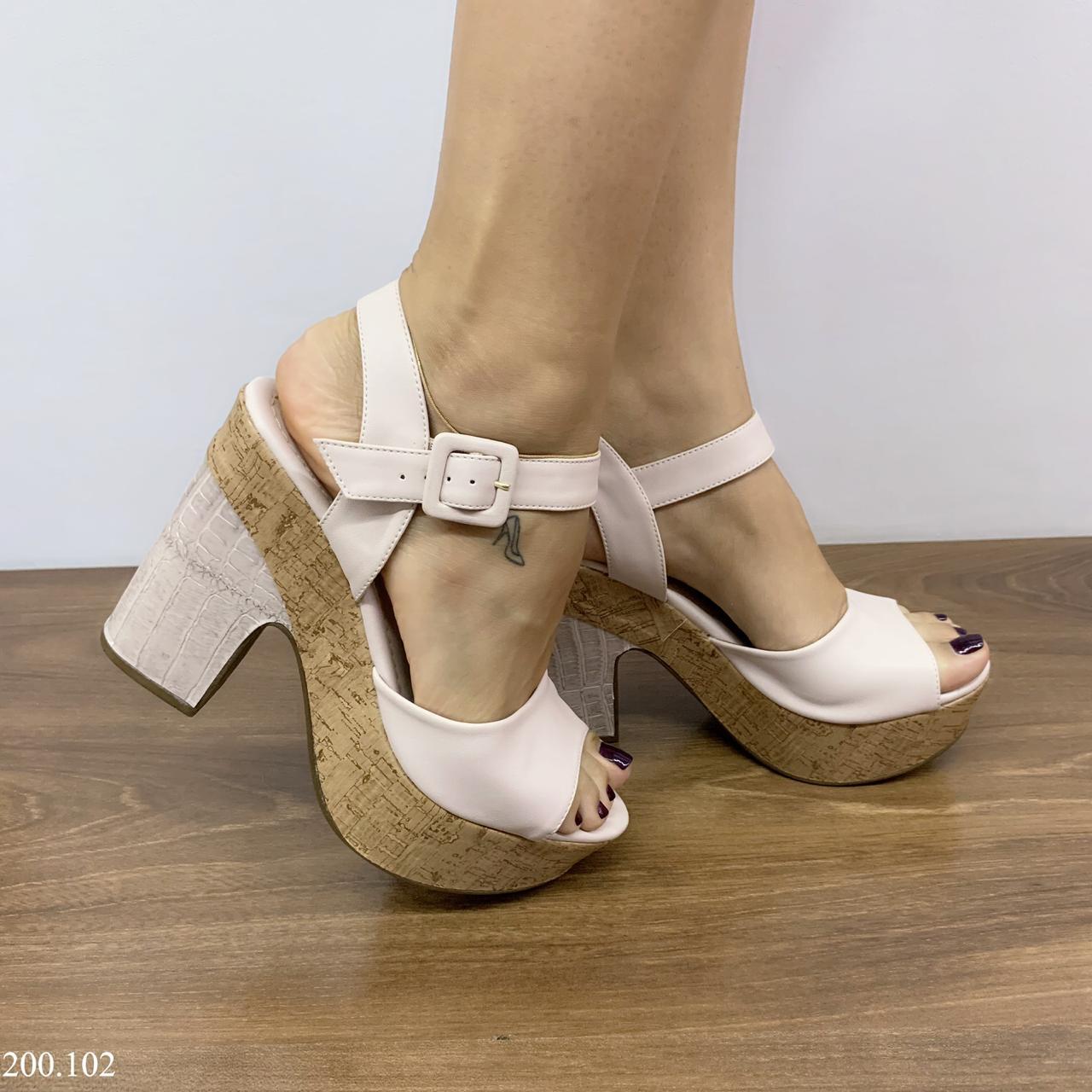 Sandália Salto Bloco Rose | D-200.102