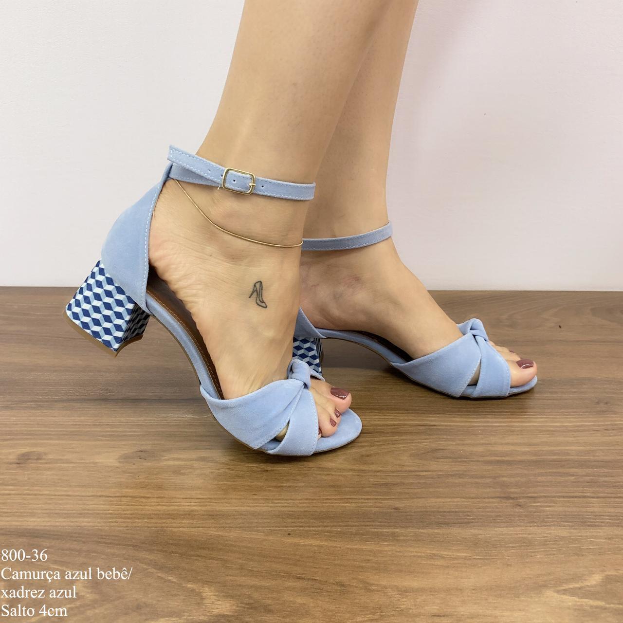 8e3c3b93d Sandália Camurça Azul Bebê/Xadrez Azul - Calçados Diferente