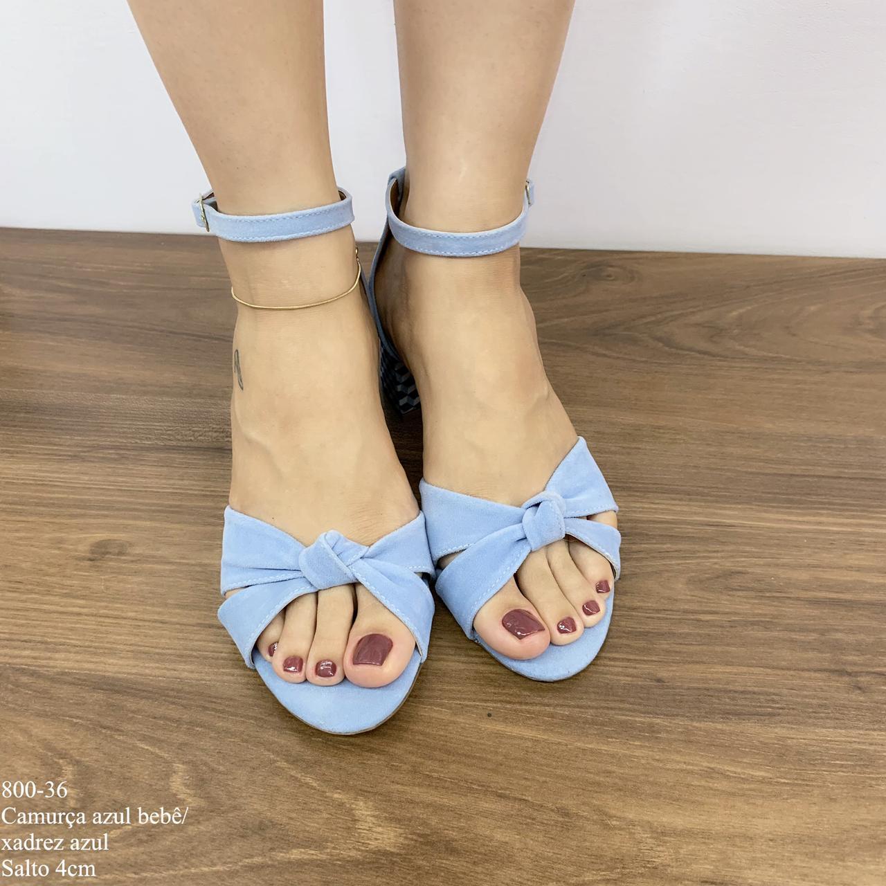 Sandália Camurça Azul Bebê/Xadrez Azul