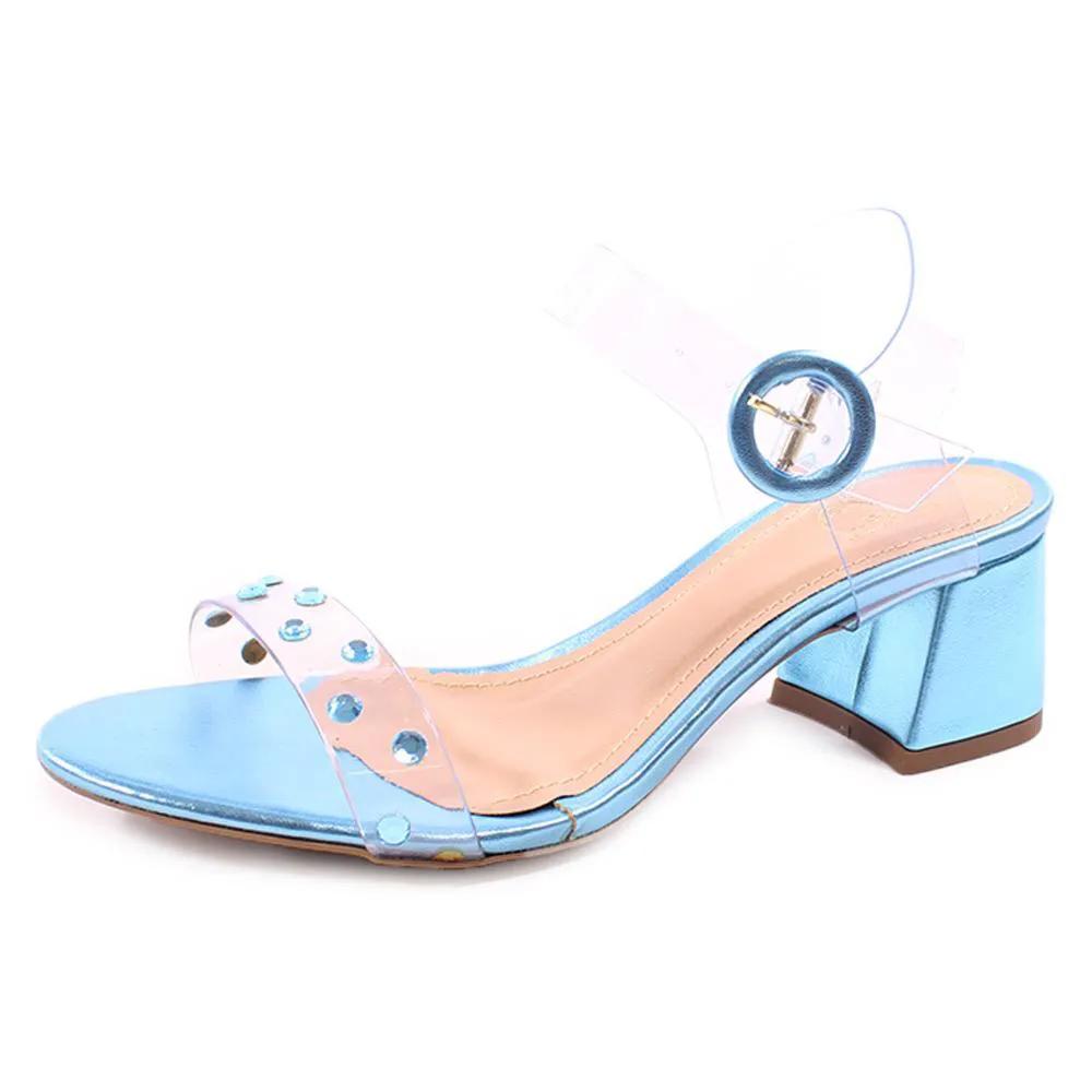 Sandalia com cristais (metalizado azul)  |  800-543