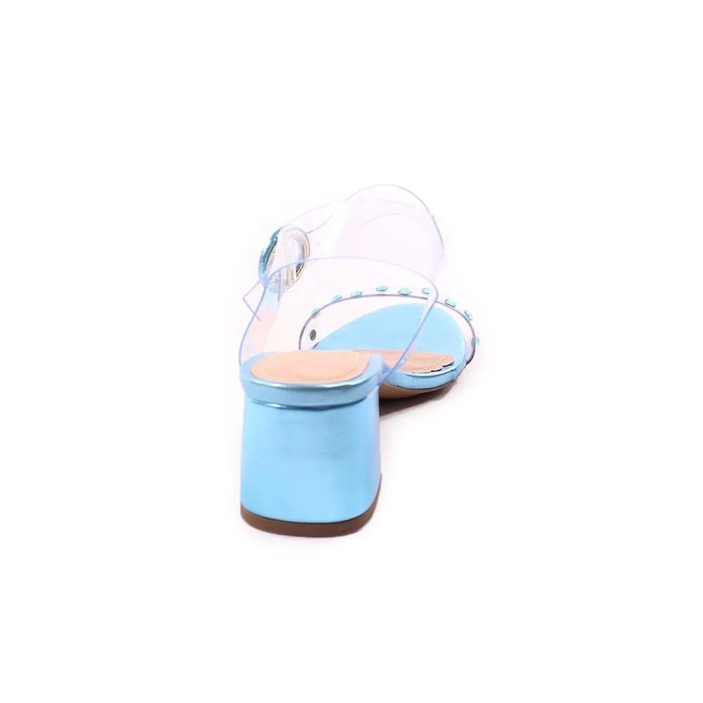 Sandália Metalizada Azul Cristais | D- 800-543