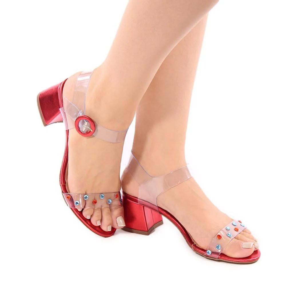 Sandália Metalizada Vermelha Cristais | D- 800-543