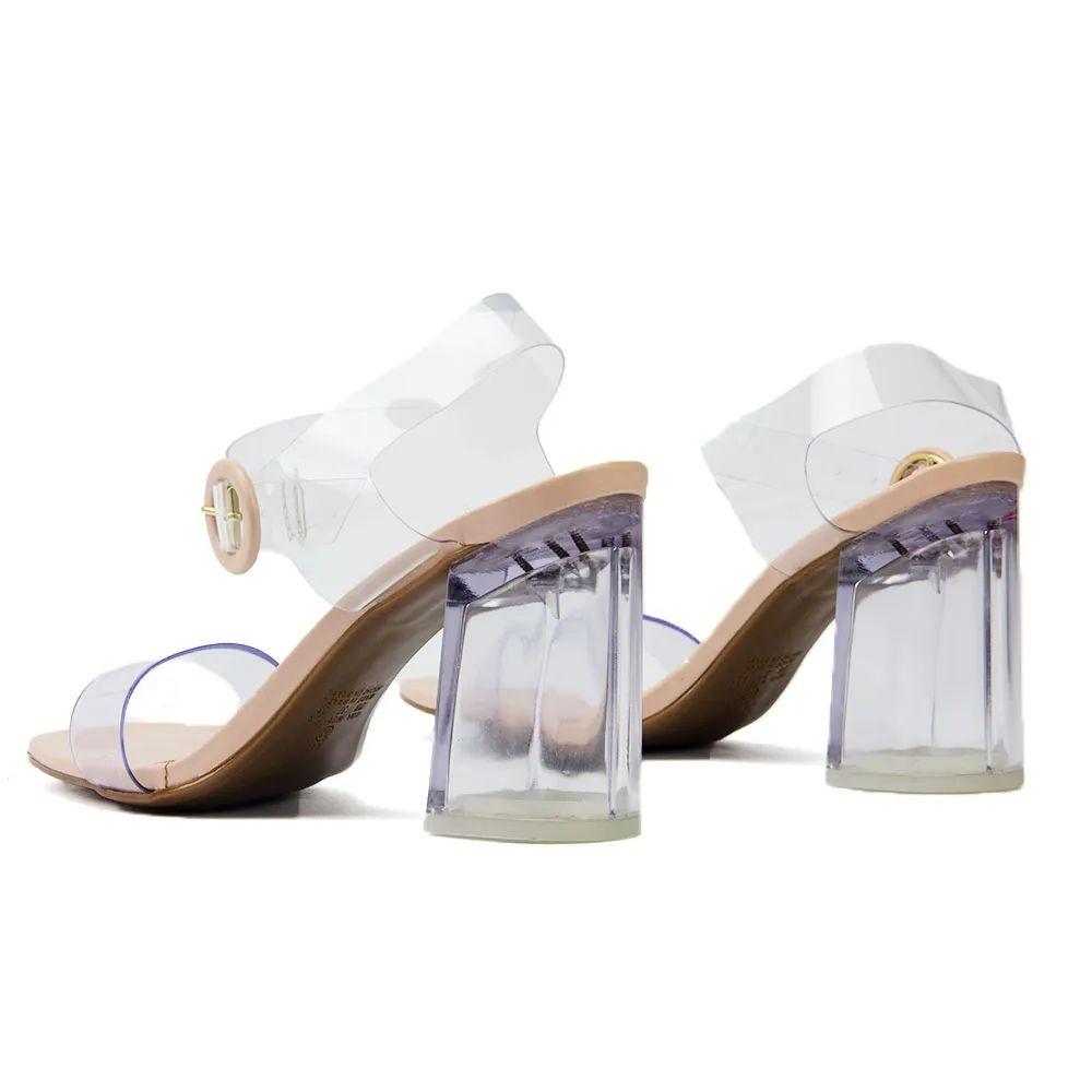 Sandalia (cristal (salto transparente))  nude