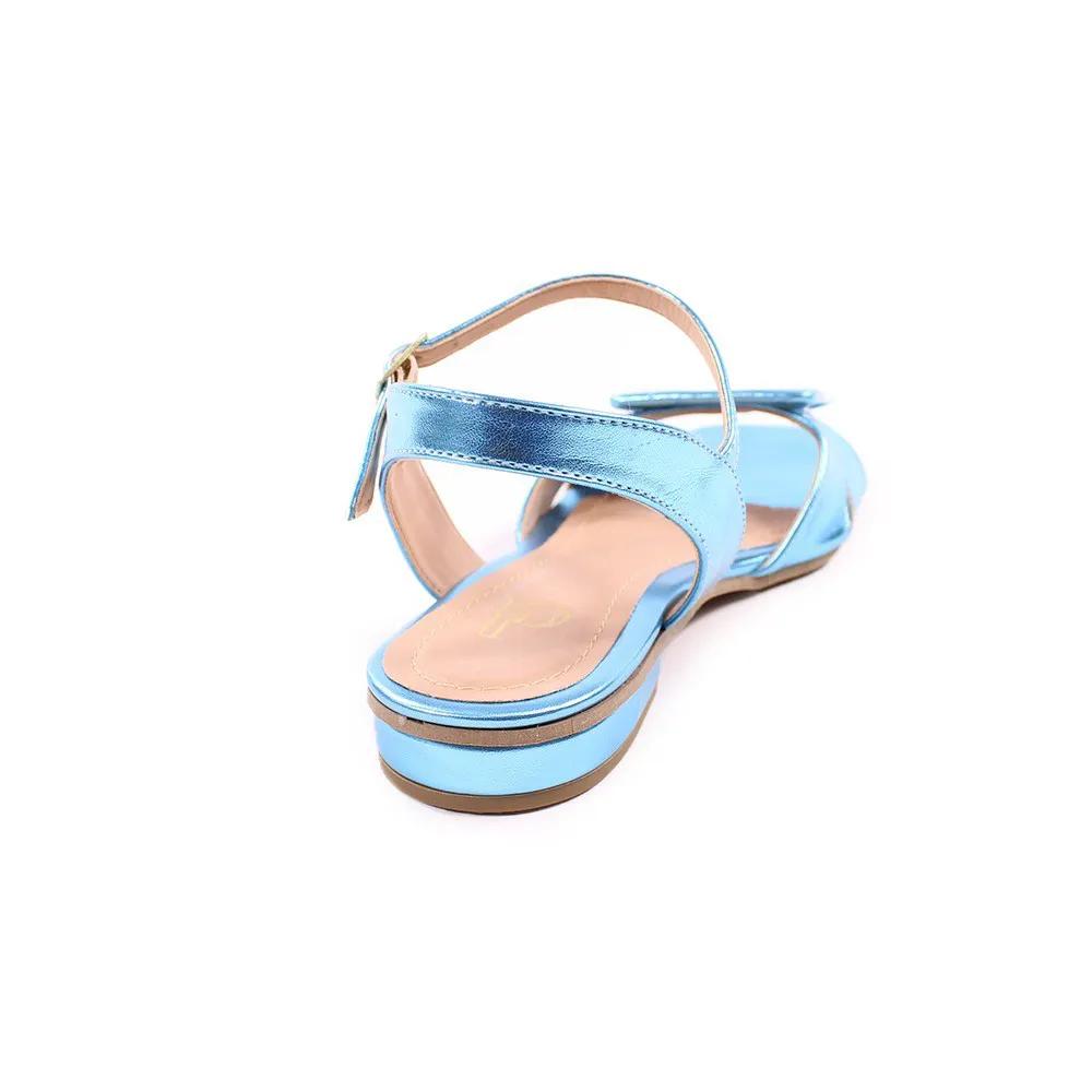 Sandália Rasteirinha Metalizada Azul   D-9000