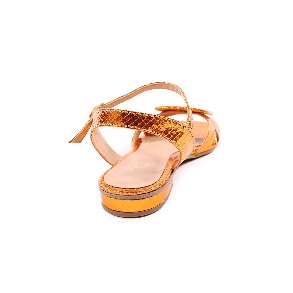 Sandália metalizado laranja