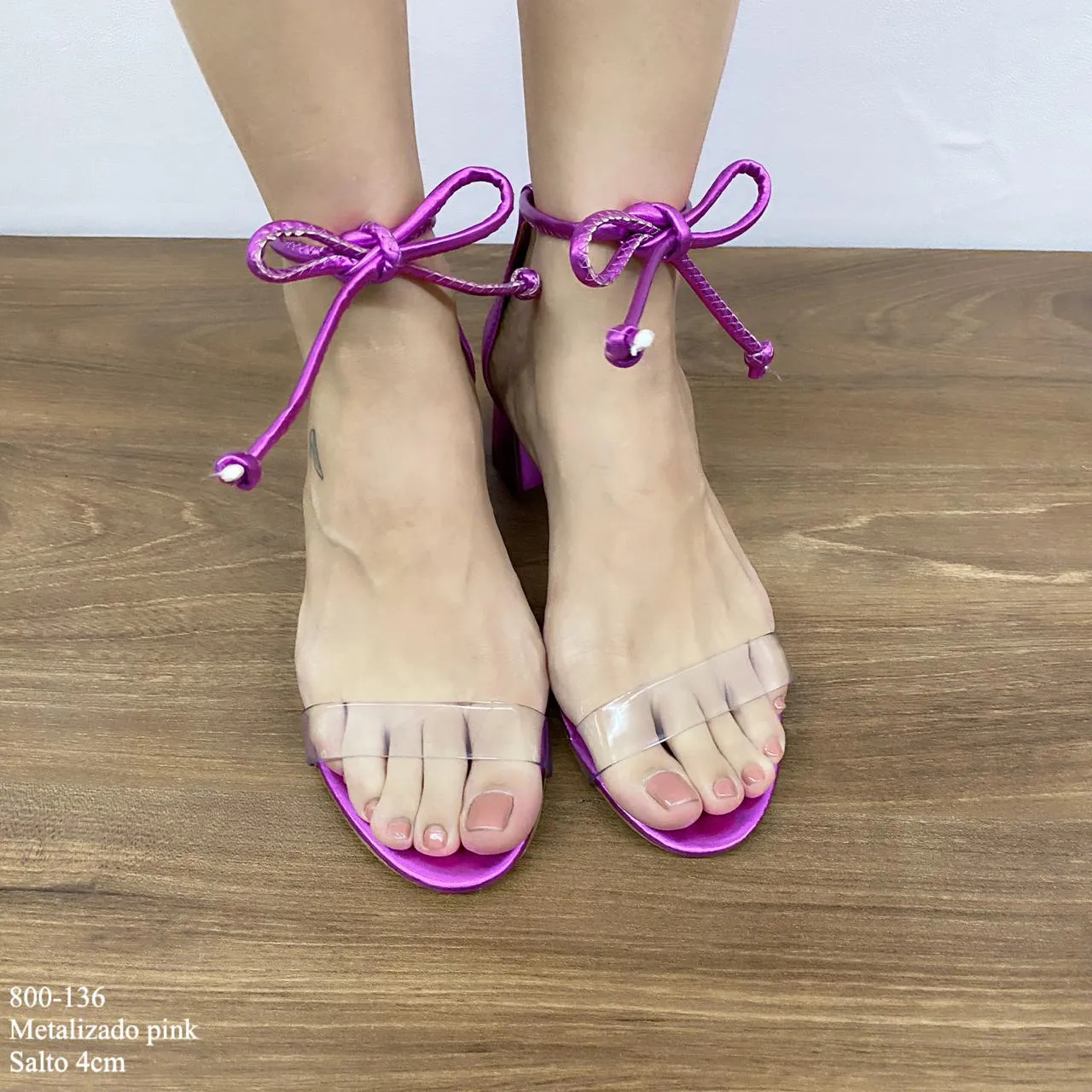 Sandália Metalizado Pink Amarração Salto Bloco | D-800-136