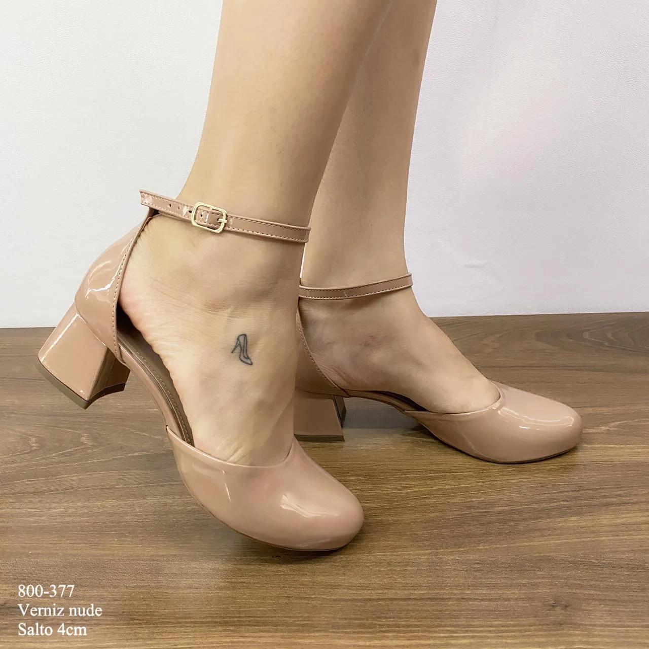Sandália Nude Verniz Salto Bloco | D-800-377