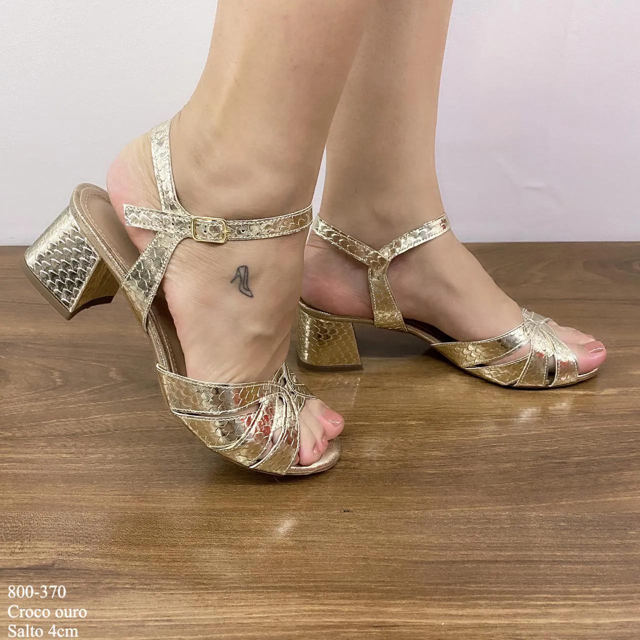 Sandália Ouro Snake Salto Bloco | D-800-370