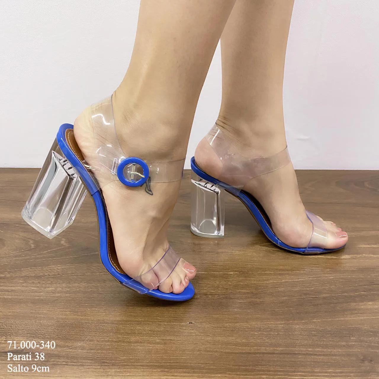 Sandália Azul Salto Cristal  | D-71.000-340