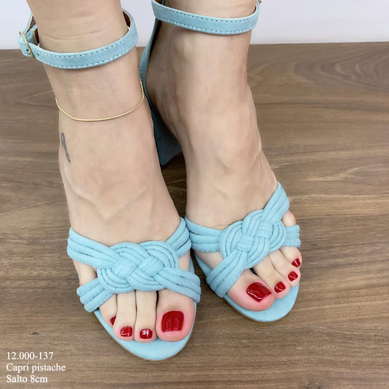 Sandália Salto Bloco Azul Bebê | 12.000-137