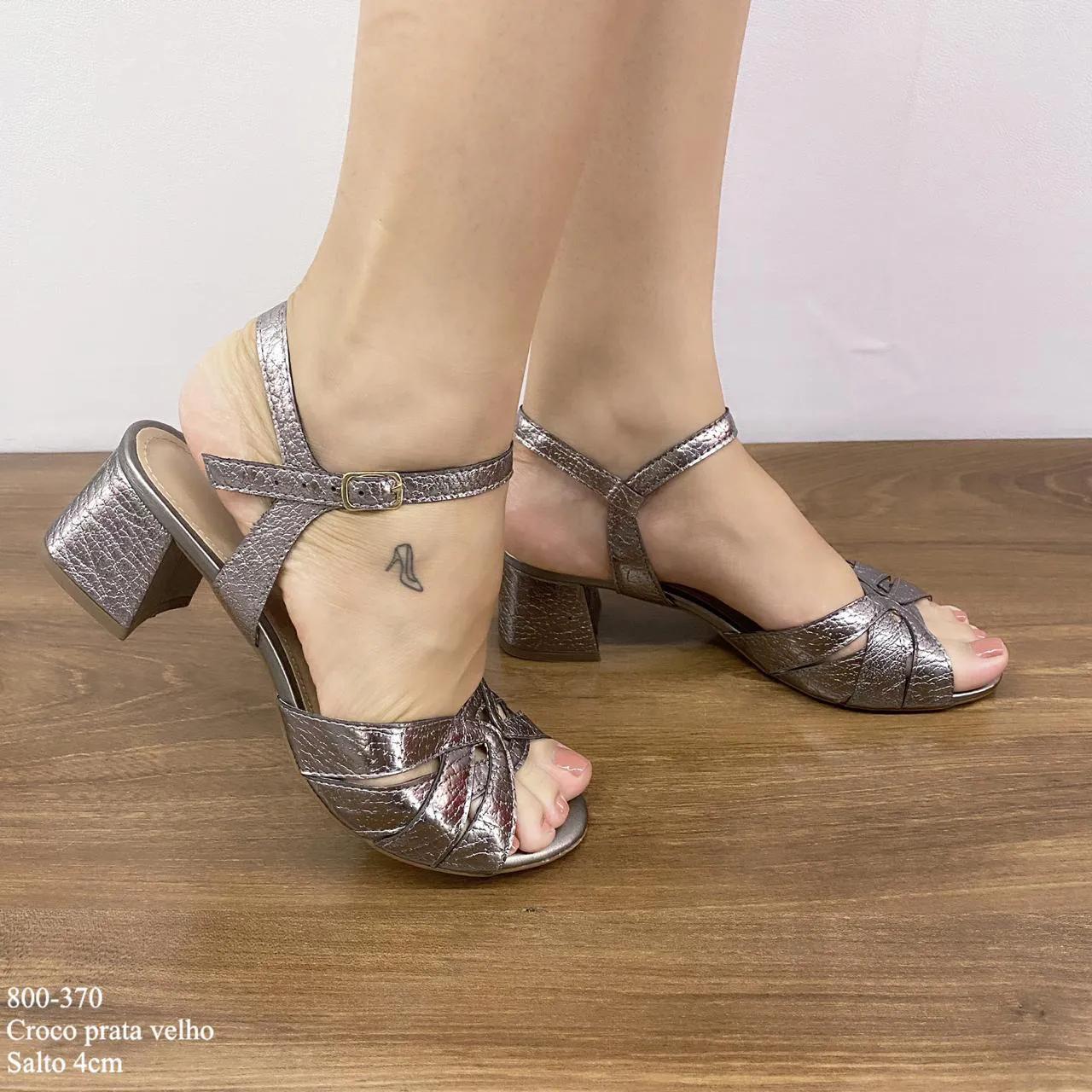 Sandália Prata Velho Croco Salto Bloco | D-800-370