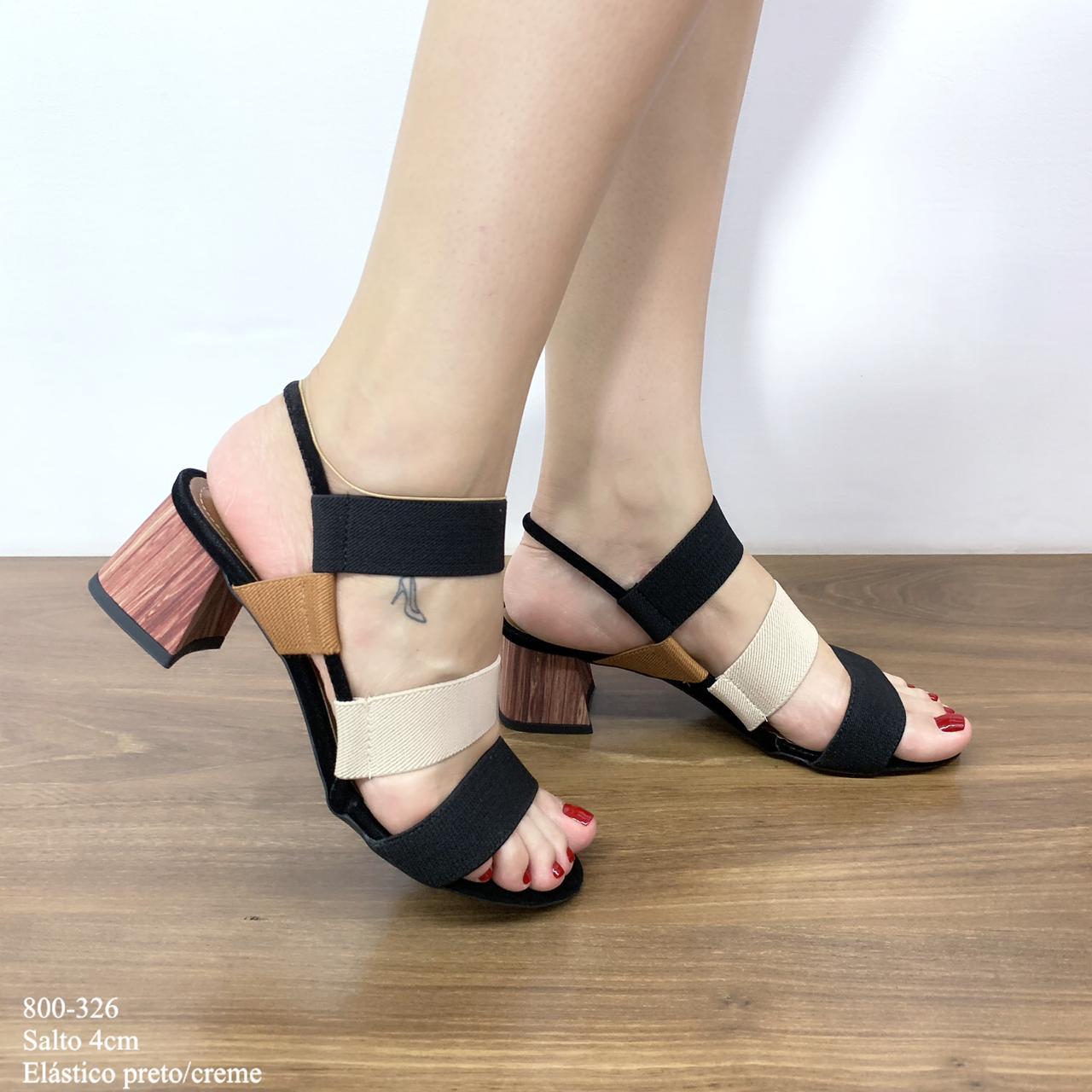Sandália Preta Com Elastico Preto/Creme   D-800-326