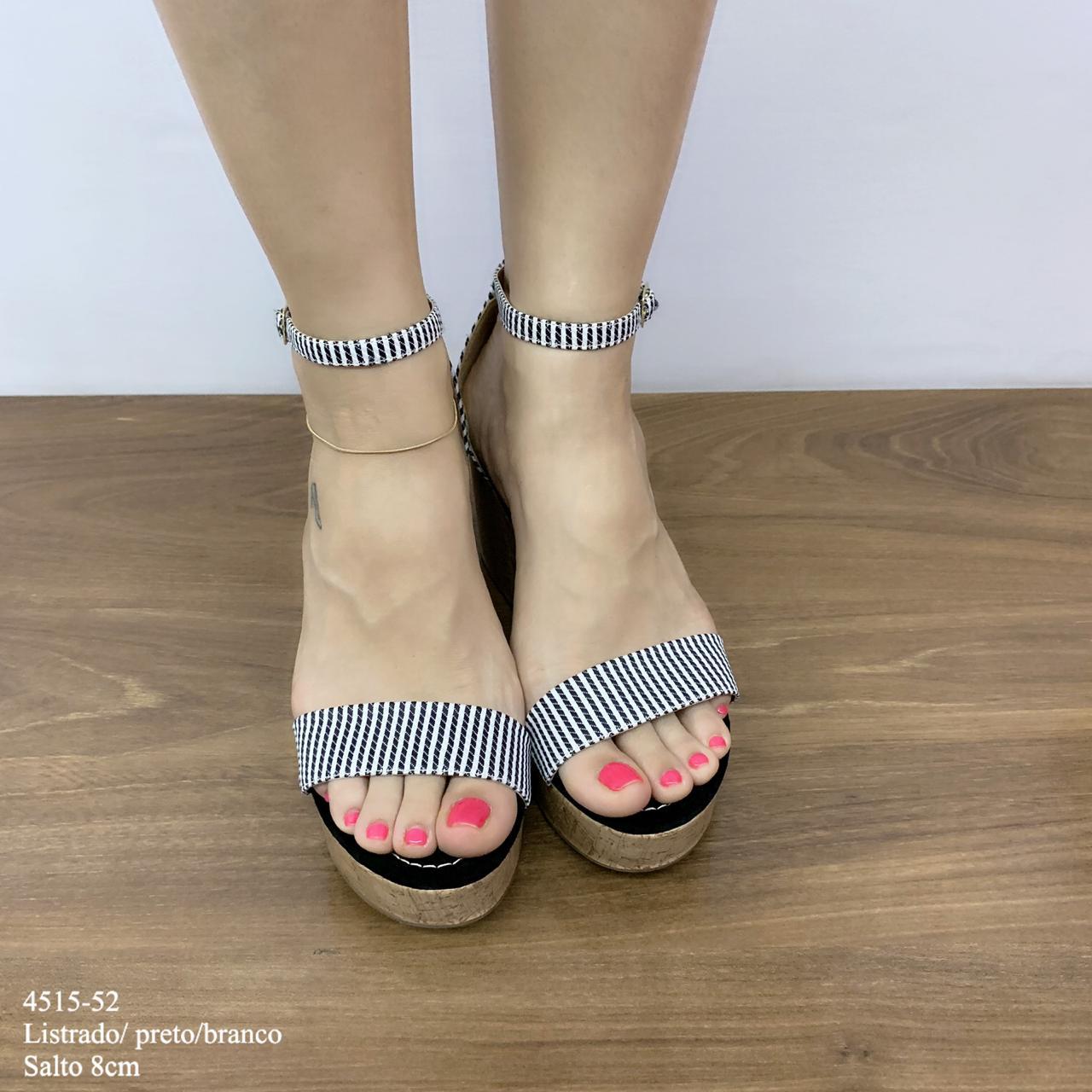 Sandália Preto E Branco Listrado | D-4515-52