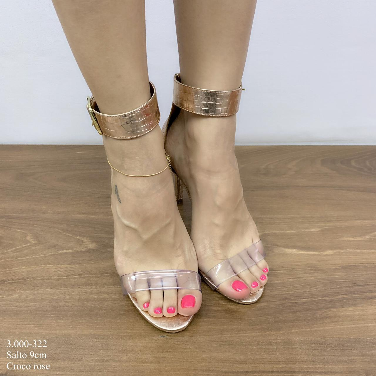Sandália Rose Croco Com Fivela | D-3.000-322