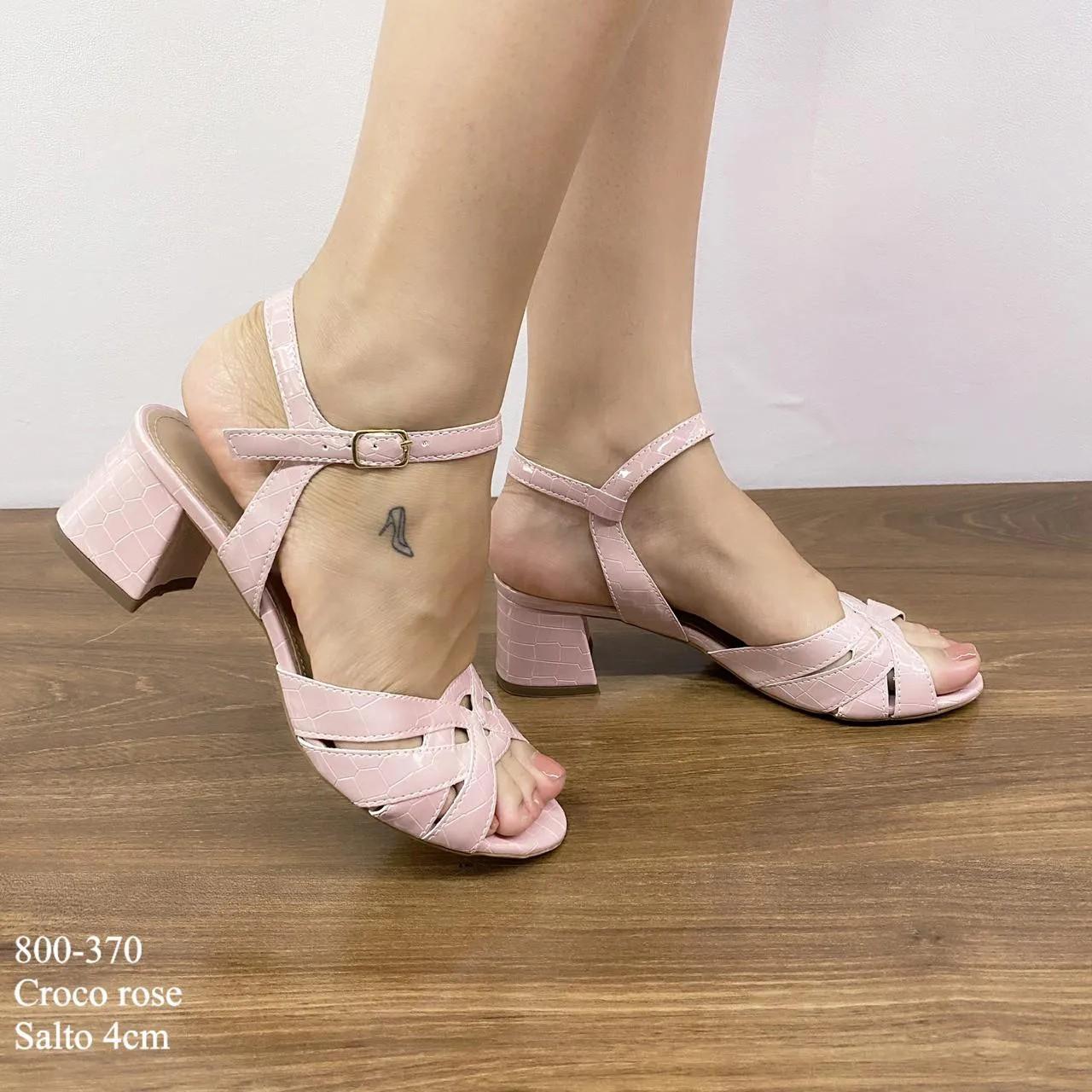 Sandália Rose Croco Salto Bloco   D-800-370