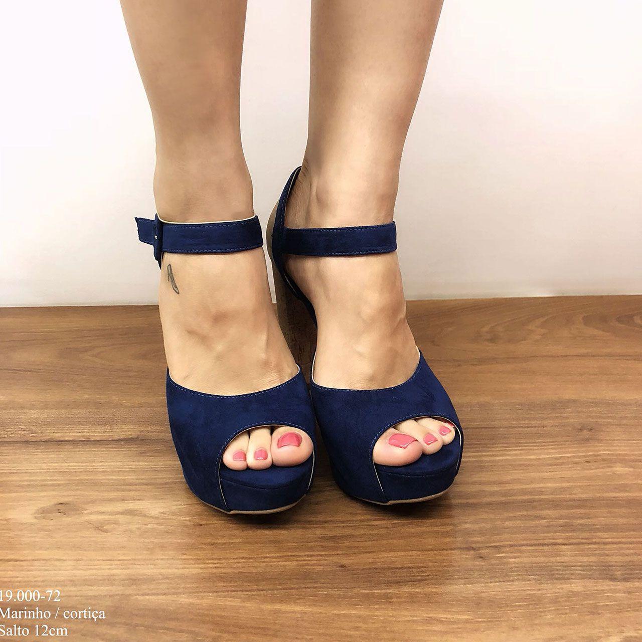 Sandália Salto Alto Grosso Azul com Meia Pata