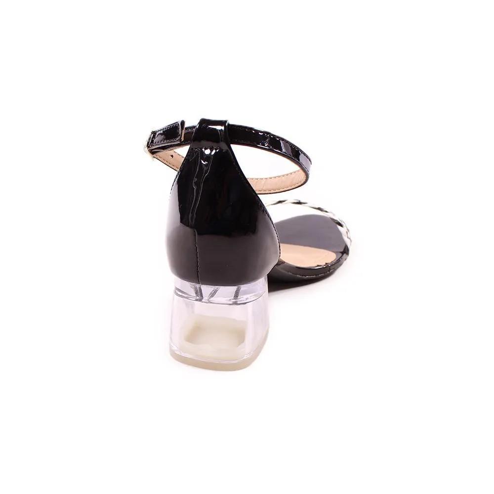 Sandália Preta Salto Cristal | D-800-431