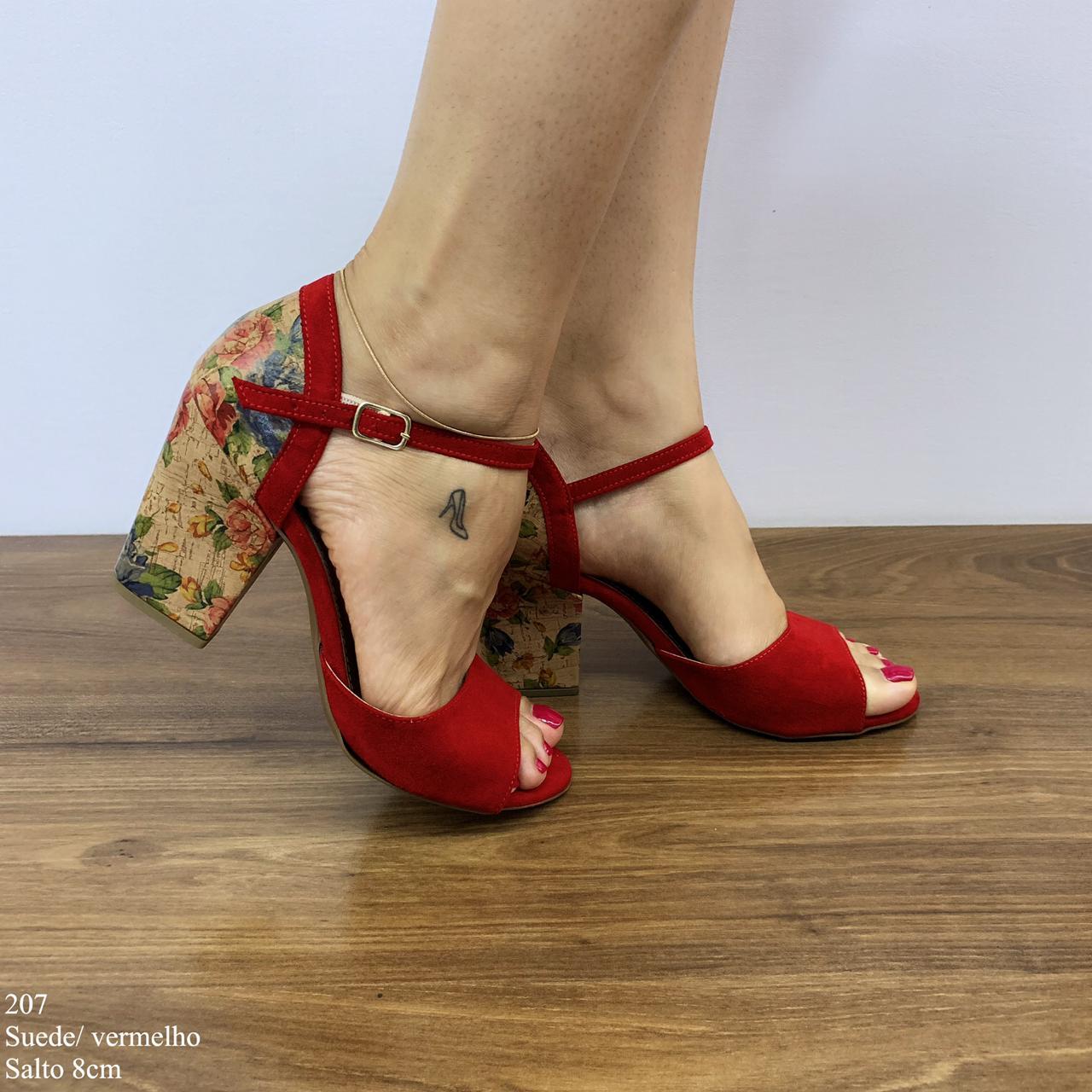 Sandália Vermelha Suede | D-2021