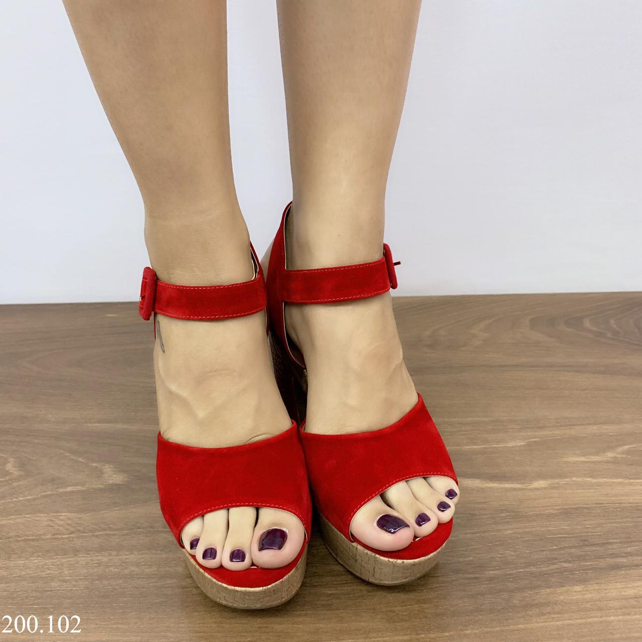 Sandália Vermelha Croco cortiça | D-200.102