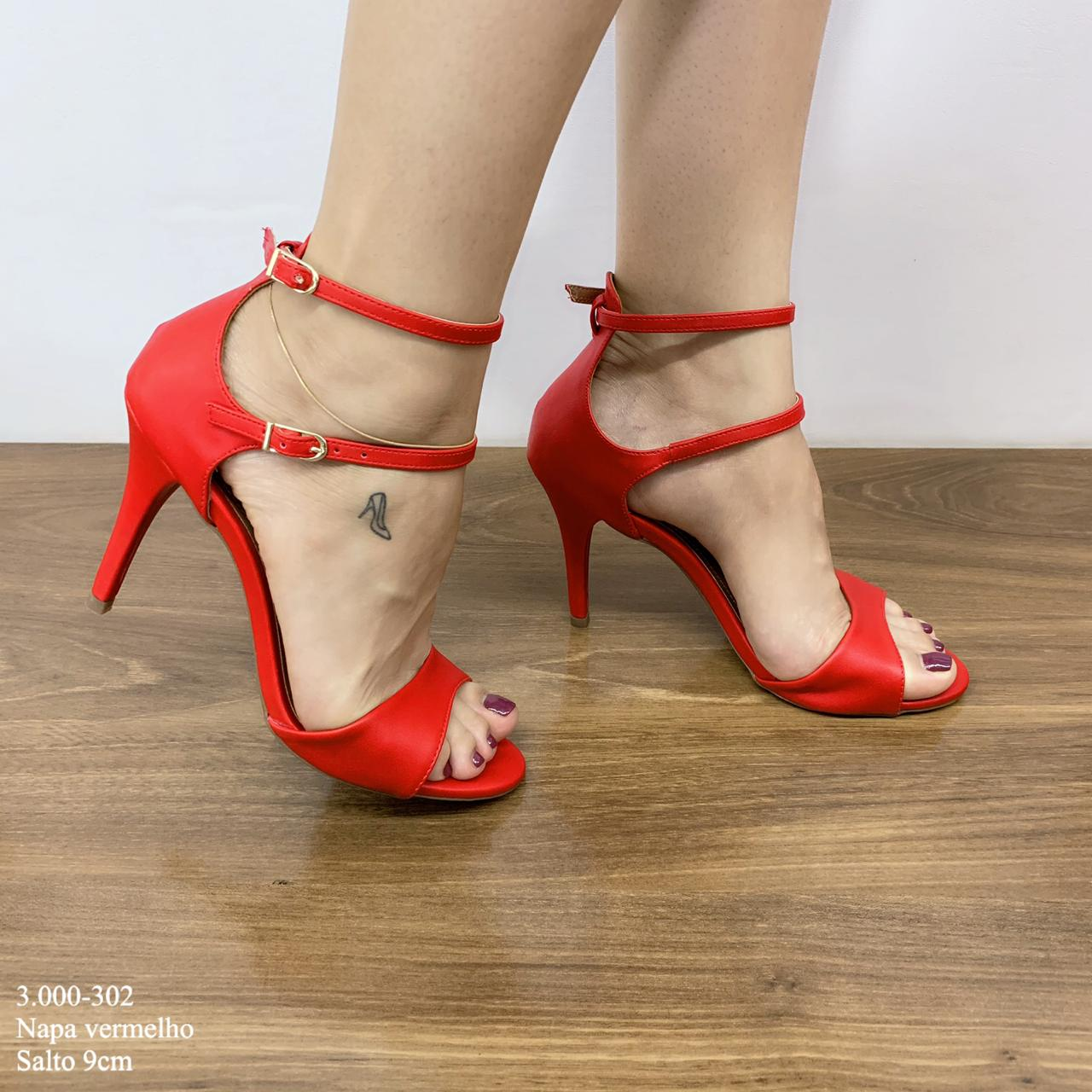 Sandália Vermelho Napa Com Duas Tiras De Abotoar | 3.000-302