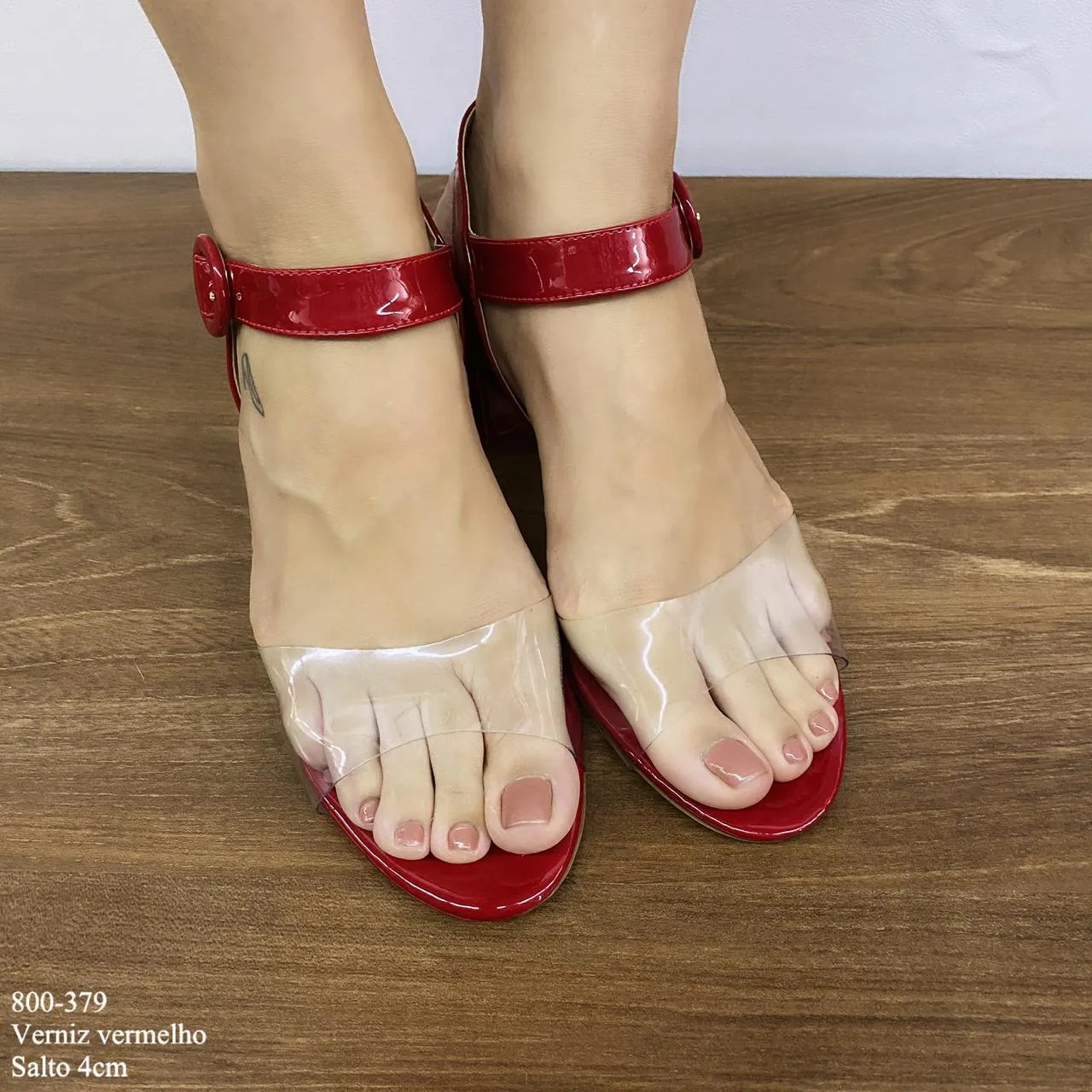 Sandália Vermelho Verniz Salto Bloco   D-800-379