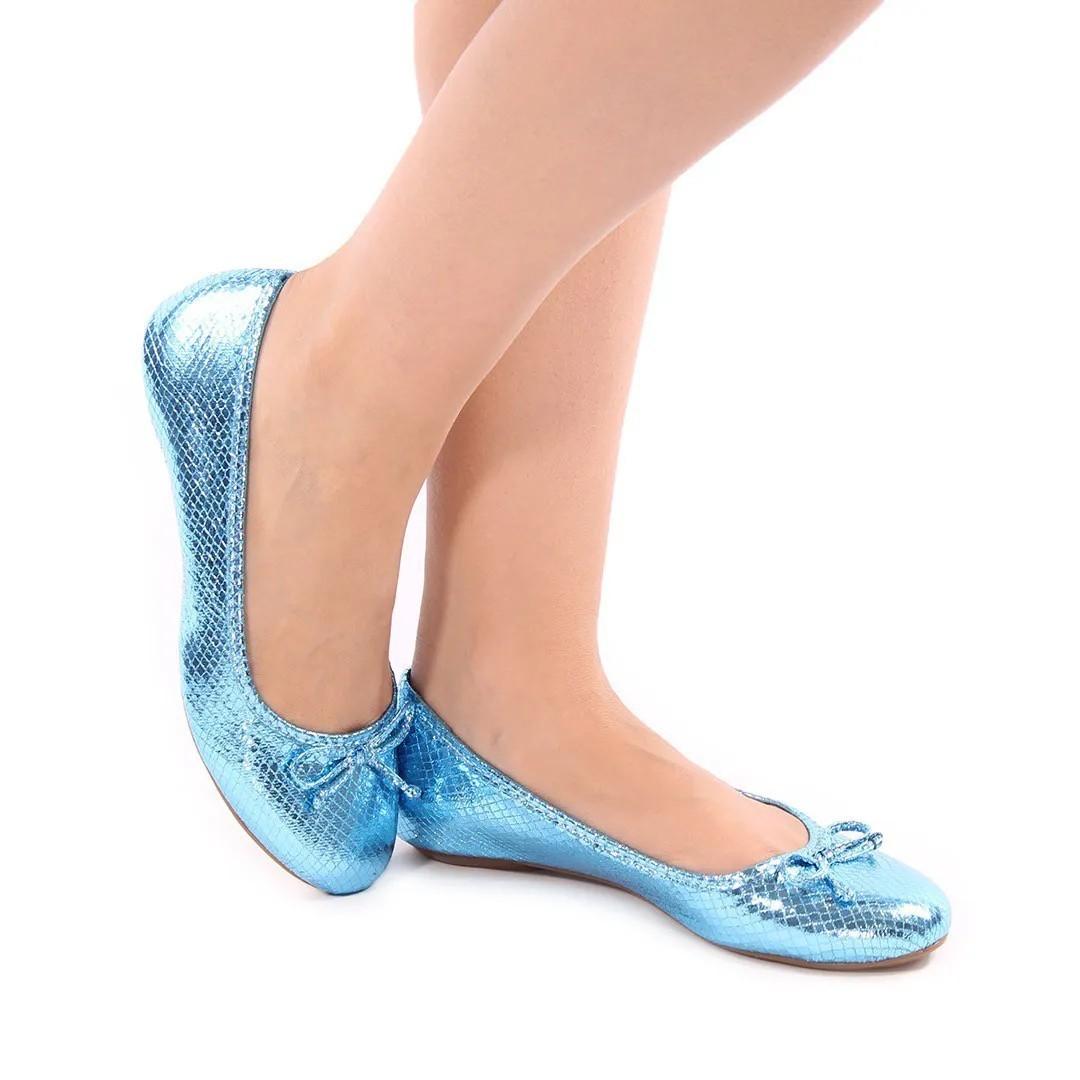 Sapatilha bico redondo (escama azul italia)