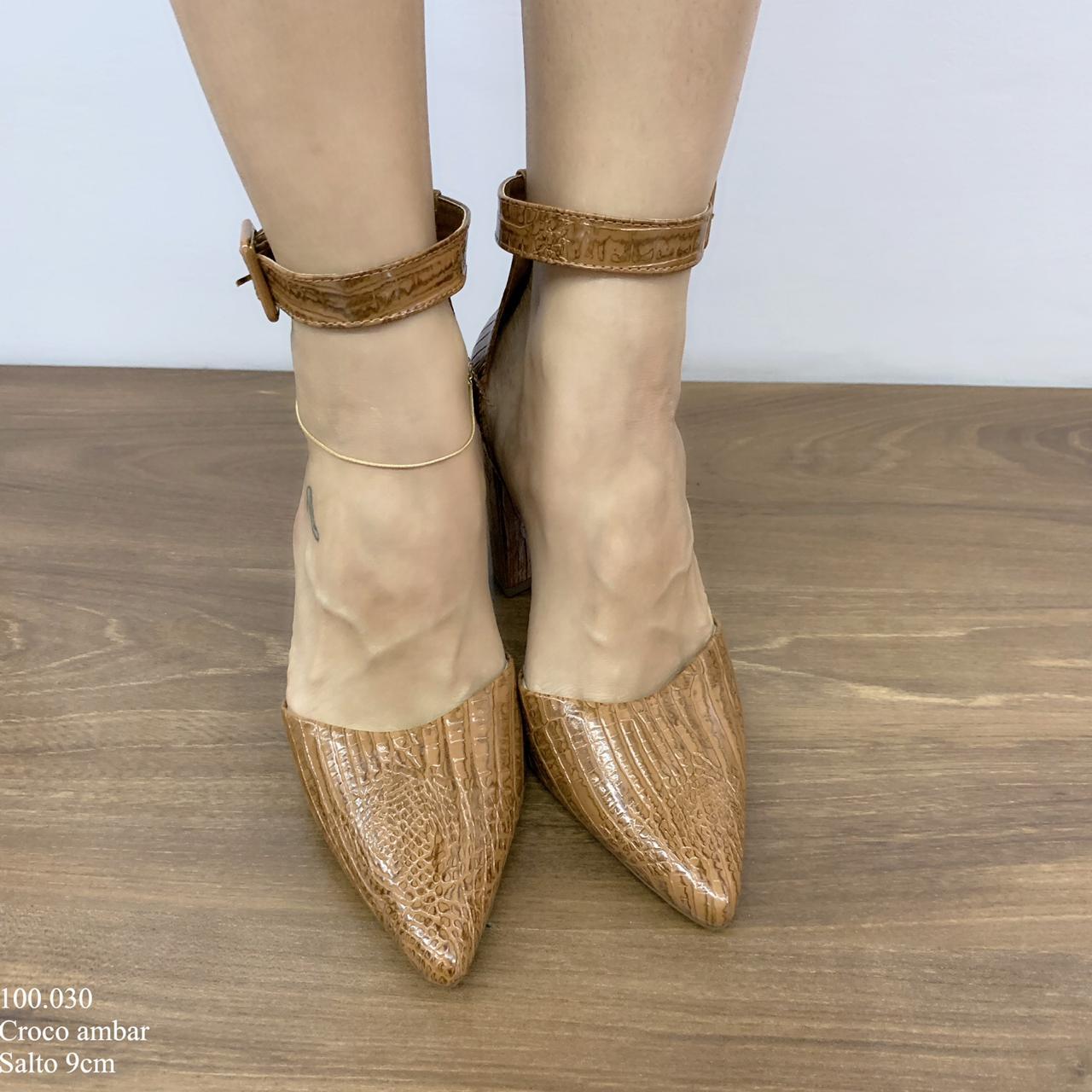 Sapato Scarpin Aberto Ambar Croco    D-100.030