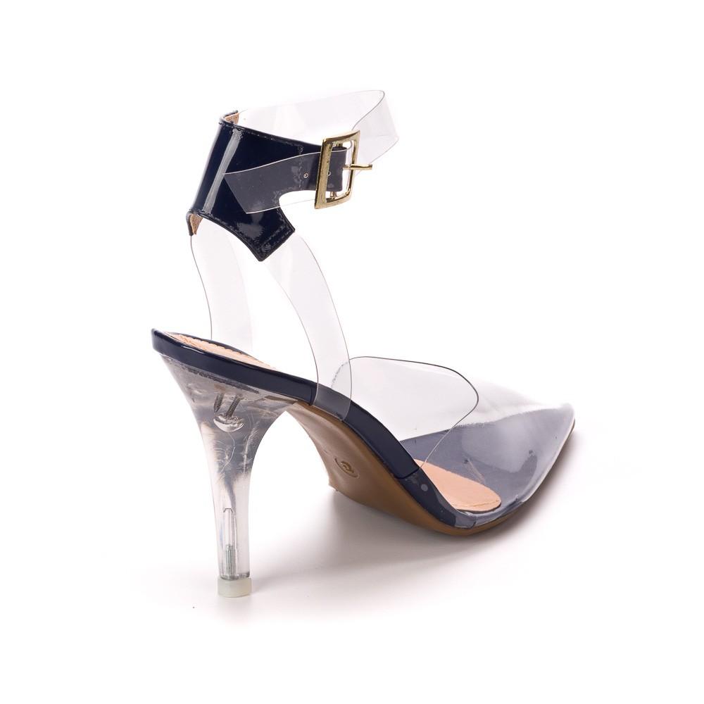Scarpin Acrilico Verniz Preto Salto Cristal | 75.000-605