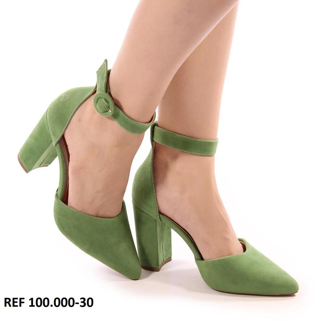 Scarpin Camurça Verde Oliva | D-100.030