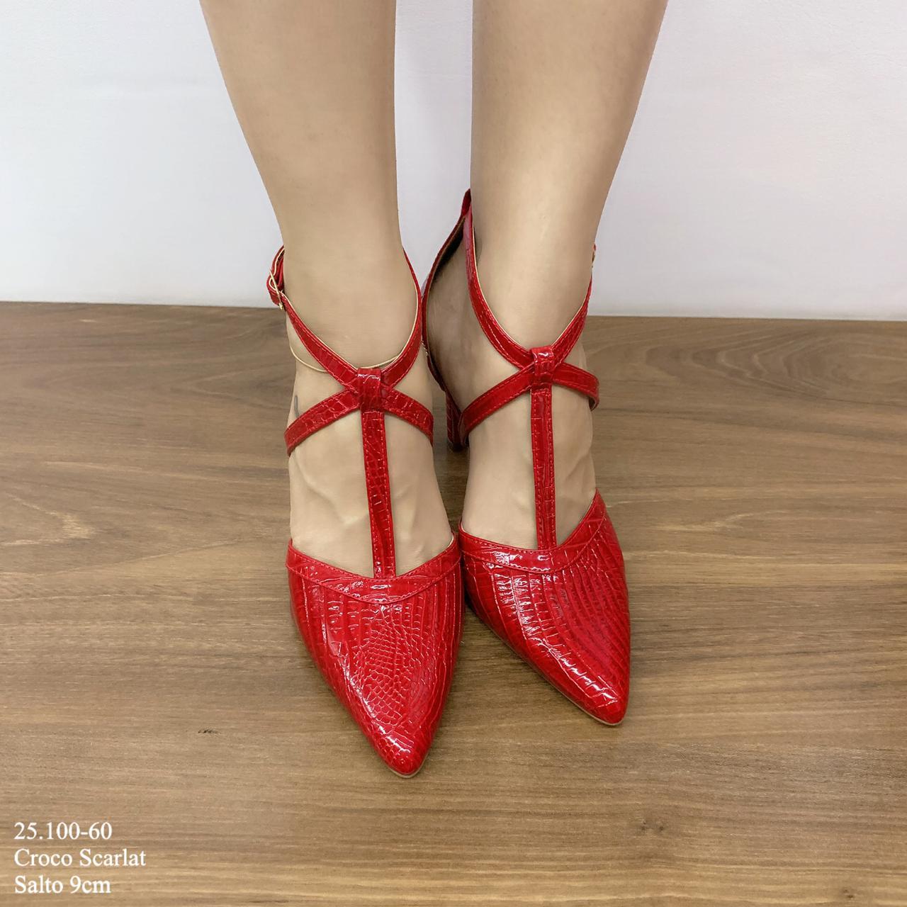 Scarpin Feminino Scarlat Croco   25.100-60