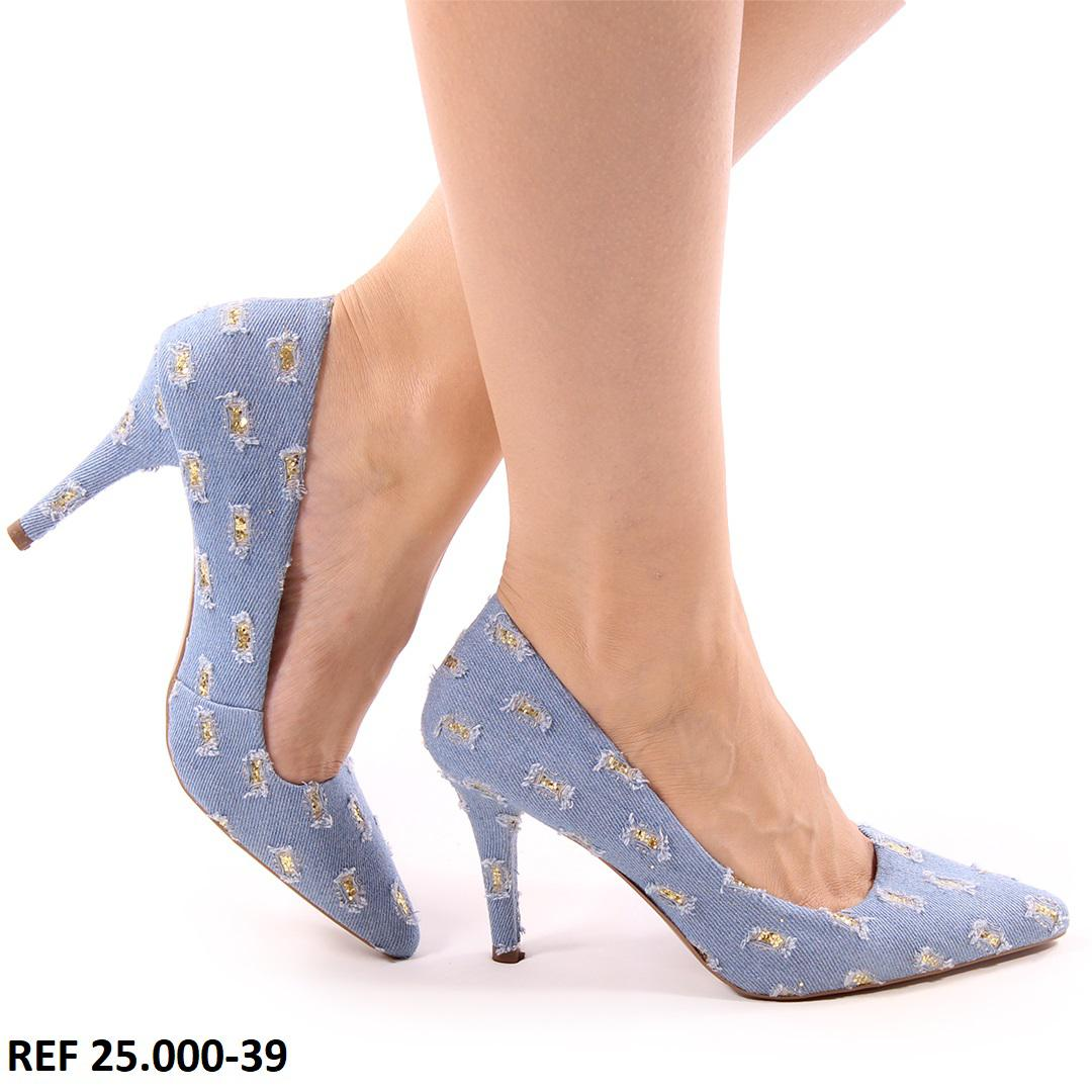 Scarpin Jeans Glitter Salto Alto  |  D-25.000-39