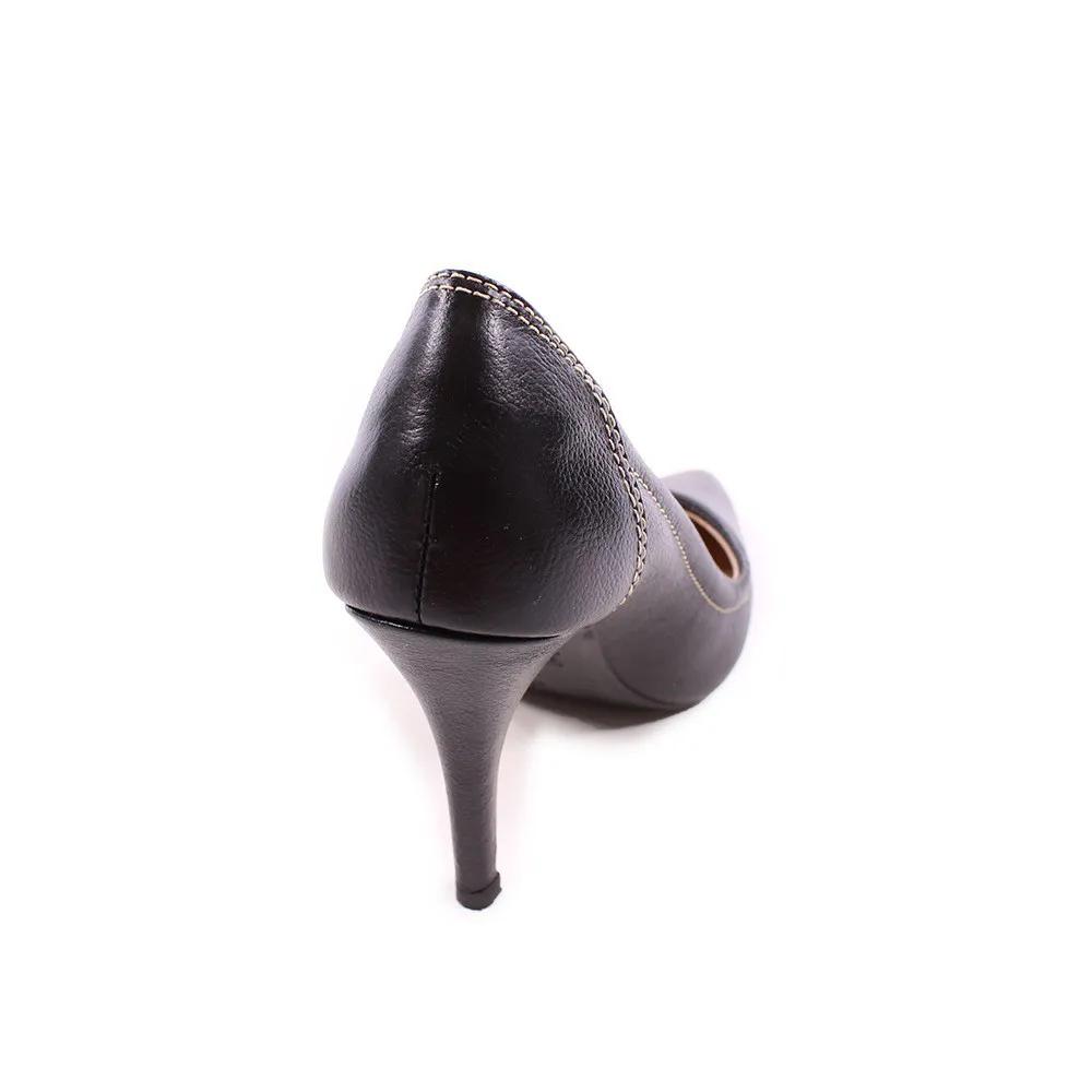 Scarpin Preto Couro 25.000-38