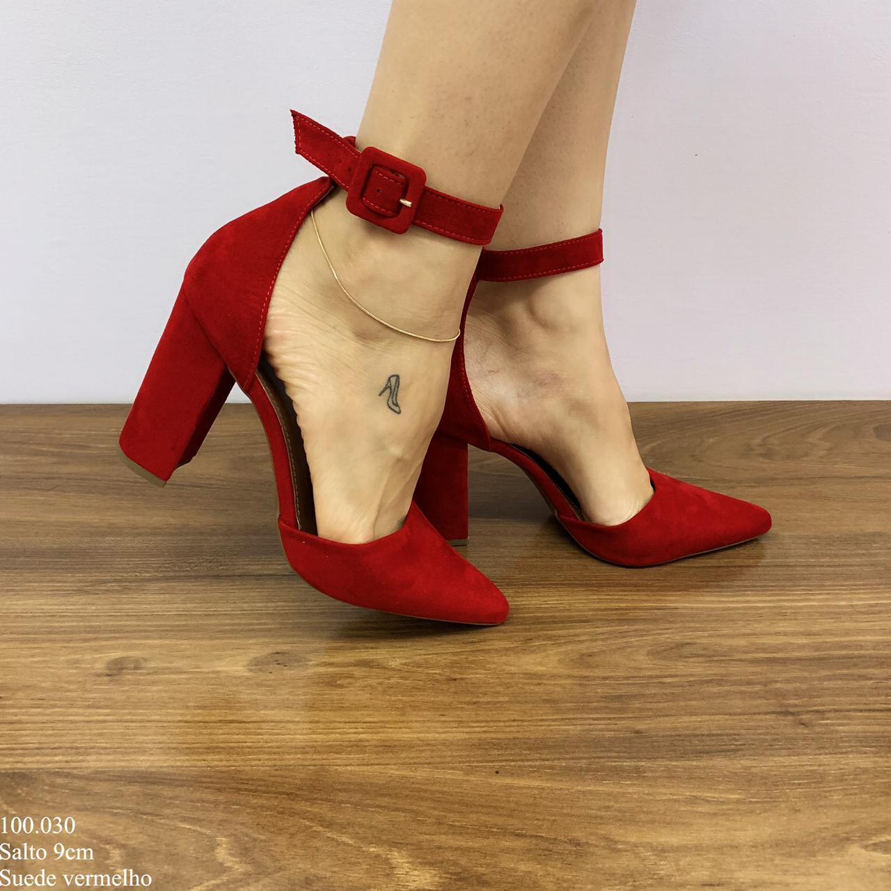 Scarpin Vermelho Suede | D-100.030