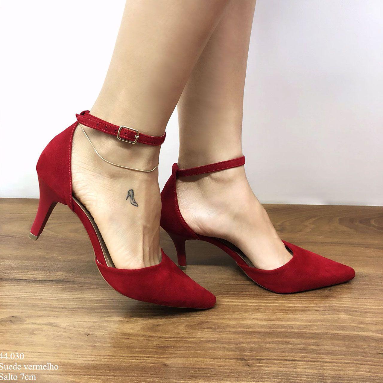 Scarpin Salto Médio Vermelho | D-44.030